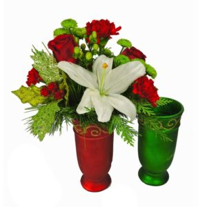 red and green vase