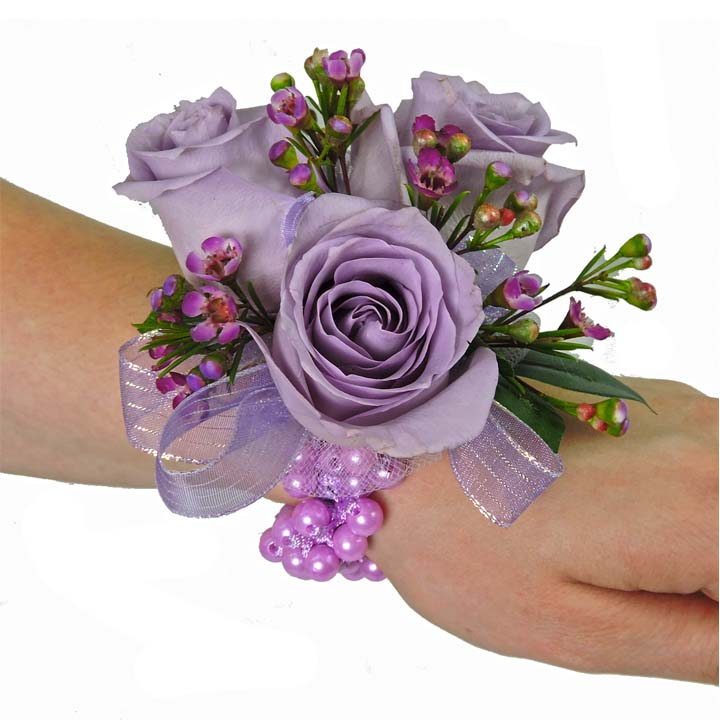 Lavender Rose with Wax Flower Wrist Corsage (CBCPAS02) – Flower Patch