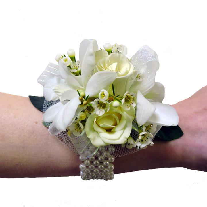 Miniature White Rose Orchid Wrist Corsage Cbcpas04 Flower Patch