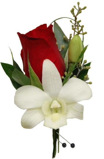 Red Rose & White Orchid Boutonniere (CBBCLA03) – Flower Patch