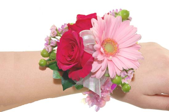 Hot pink miniature roses and light pink mini gerbera daisy wristlet hot pink mightylinksfo