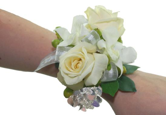 White rose orchid wrist corsage cbccla01 flower patch white rose mightylinksfo