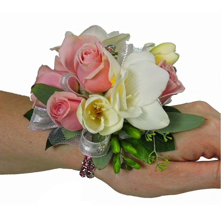 light pink spray rose and freesia crystal wristlet corsage, Natural flower