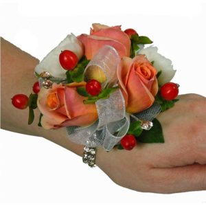 In the spotlight corsages flower patch peach miniature rose and white ranunuculus wristlet corsage cbcits01 mightylinksfo